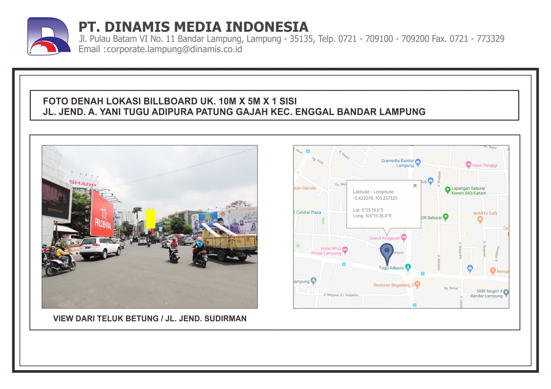 FDL BB 10mx5m - Jl. Ahmad Yani - Bundaran Tugu Adipura - Patung Gajah